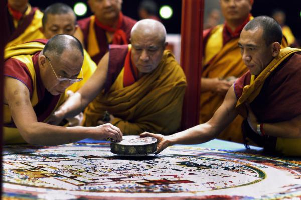 H.H. Dalai Lama w/ Kalachakra mandala